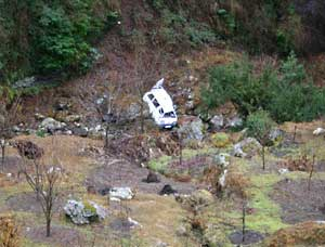 A wreck at the foot of a cliff on the way to Shringi. Don't drink and drive!