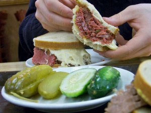 Meat is hand-cut and piled high at Katz's