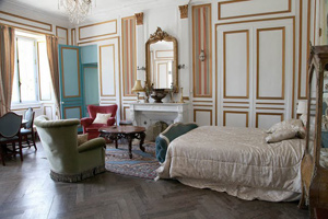 Bedroom at Chateau le Val in Brix, Normandy. photo: Paul Shoul.