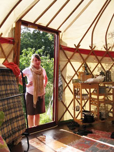 Yurts are erected on a platform using tension and compression.
