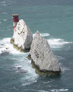 Needles Rocks on the Isle of Wight.