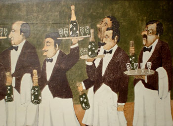Eager waiters in a mural at the Hacienda Los Lingues in San Fernando, Chile. Photos by Mark Zussman.