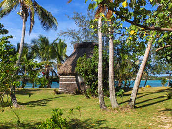 A hut at the Flying Fish Eco-Village on the Island of Matacawalevu in Fiji. Photos by Adam and Jordan Curren.