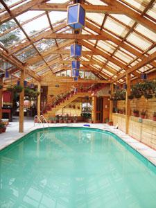 The swimming pool at Chalets Naldehra