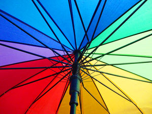 The colorful umbrella provided by the Chalets