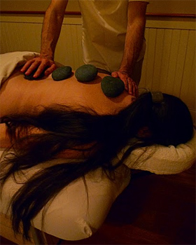 Stone massage with ocean rocks at the Ocean Hotel, Watch Hill, Rhode Island. photos by Shelley Rotner.
