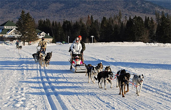 Dogsledding is just one of the outdoor winter activities at the Balsams.