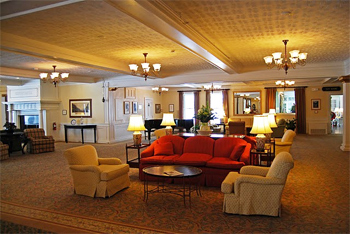The lobby of the grand hotel.