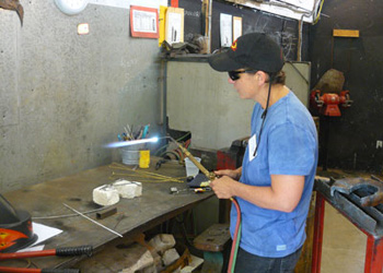 Welding is one of many arts and crafts taught at Snow Farm in Williamsburg, Massachusetts. Shown here is our instructor, Pat Bennett.