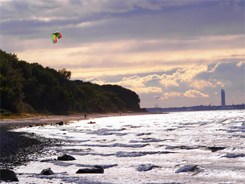 Kitesurfer on the Baltic Sea. photo by Kent St. John.