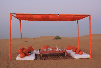 The high tea set up by Suryagarh at the Lakhmana Sand Dunes, Jaisalmer, Rajasthan