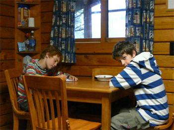 Inside a cozy cabin at Cape Blanco Park, Oregon coast.