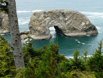 Seastack at Arch Point Lookout, Pacific Northwest.
