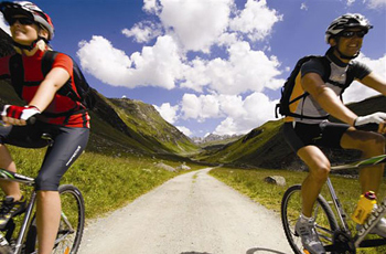 The Montefoner hotel in Austria provides mountain bikes for its guests to ride in the Alps.