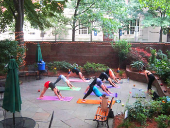 Yoga is offered on the outdoor patio at 40 Berkeley.