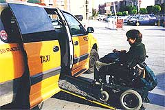 Ramped taxis are widely available in San Francisco.