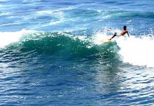 Surfing in La Libertad, El Salvador