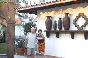 Barry and his wife Thia in front of their new housein Sayulita, Mexico