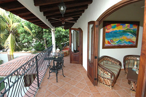 The lovely porch of the hacienda on a hilltop that they had built in Sayulita, Mexico