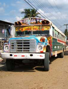 One of the diablos rojos that constitute the principle form of transportation in Panama