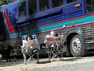 Nude RV: The author and her husband Tim at the Olive Dell Ranch Nudist Resort in Colton, California