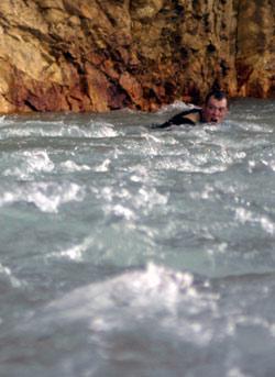 Rolf takes a dip.