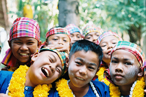 Kids at a festival in Thailand.