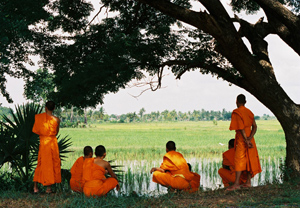 Monks by a rice paddy. Photos by Bill Reyland.