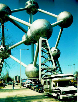 The Rich RV at the Atomium in Brussels, built for the 1958 World Fair