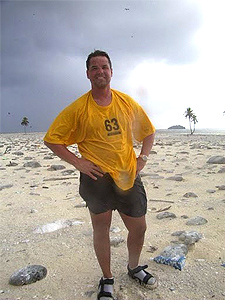 Charles Veley, the Most Traveled Man, on Clipperton Atoll, in the South Pacific.