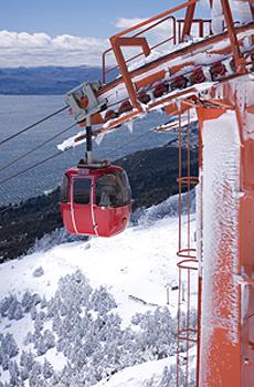 Ski lift overlooking Argentina's Lake District Bariloche.