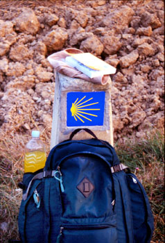Traveling light on the Camino de Santiago in Spain.