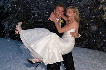Julian and Laura getting married in the snow in Sundance, Utah