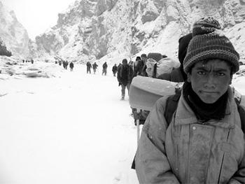 A road through the mountains in Ladakh, India