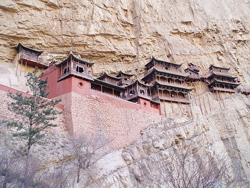 The Hanging Monastery in China teeters on the mountainside.