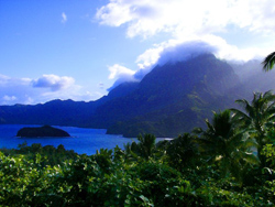 A view over Hiva Oa in French Polynesia.