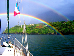 A double rainbow at French Polynesia.