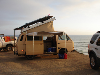 The beast--a 1988 VW Vanagon that took Peter and Kim all the way to Mexico and back.