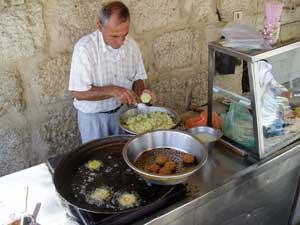 Cooking felafel in Bethlehem