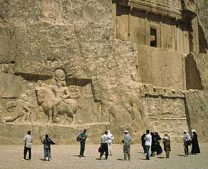 Visitors at the tombs at Naqsh-e-Rustam in Persepolis