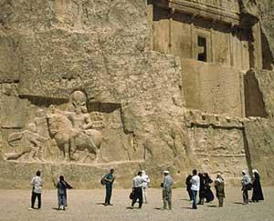Visitors at the tombs at Naqsh-e-Rustam in Persepolis