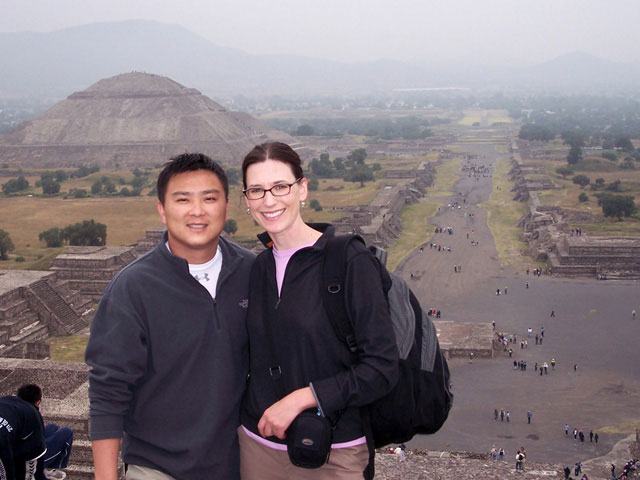 Kelly Westhoff and Quang Nystrom in Teotihuacan, Mexico.