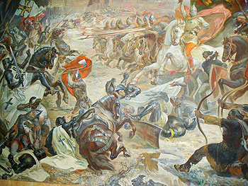 In Lviv's Arsenal Museum,a depiction of Orthodox forces defeating crusaders