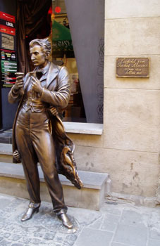 A statue of 19th century writer and Lviv resident Leopold Von Masoch after whom masochism is named