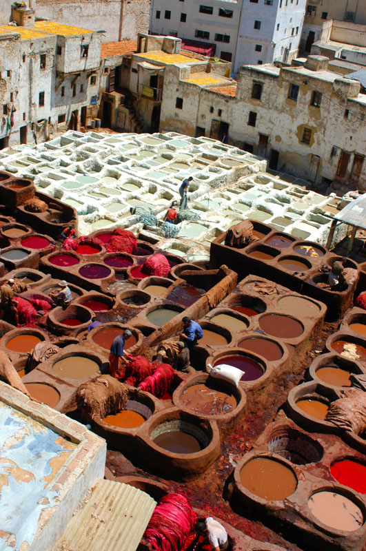 Dye pots in Fez, Morocco