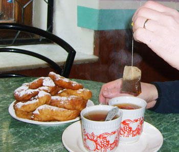 Pishki (donuts) and the old Soviet cups