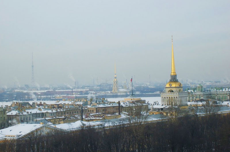 View of St. Petersburg showing the Admiralty and the Cathedral of St. Peter and St. Paul
