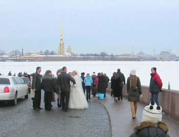 A wedding party on the banks of the Neva River