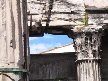 Ruins of the Octavian Gate across the river from Trastevere