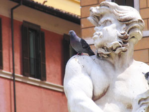 A pigeon perches on a satyr.